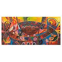 'Together as One' - African Music Theme Signed Abstract Painting