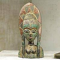 African wood mask, 'Good Woman' - West African Handcarved Wood Mask of Woman