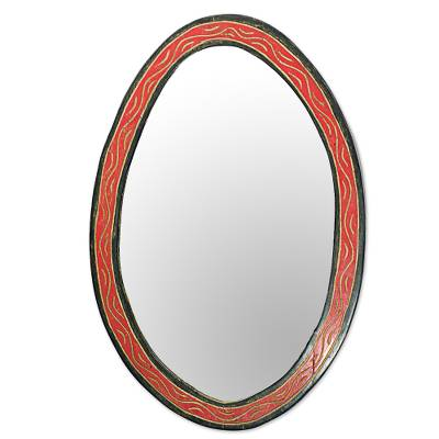 Hand Made Oval Shaped Wood Wall Mirror from West Africa