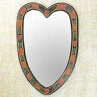 Wood wall mirror, 'Odo' - Hand Made Heart Shaped Wood Wall Mirror from West Africa