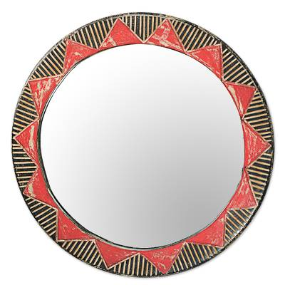 Hand Made Circle Shaped Wood Wall Mirror from West Africa