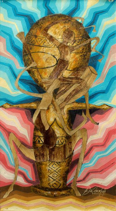 African Art Fertility Rites of Passage Mixed Media Painting
