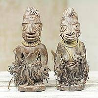 Wood statues, 'Attentive Ibeji' (pair) - Lively Hand Carved Figurines Looming With Curiosity (Pair)