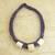 Leather and bone torsade necklace, 'Yembo Purple' - Leather Artisan Crafted Purple Necklace with Bone Squares (image 2b) thumbail