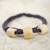 Leather and bone torsade necklace, 'Yembo Purple' - Leather Artisan Crafted Purple Necklace with Bone Squares (image 2c) thumbail