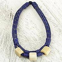 Leather and bone torsade necklace, 'Yembo Blue' - Blue Leather Artisan Crafted Necklace with Bone Squares