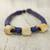 Leather and bone torsade necklace, 'Yembo Blue' - Blue Leather Artisan Crafted Necklace with Bone Squares (image 2c) thumbail