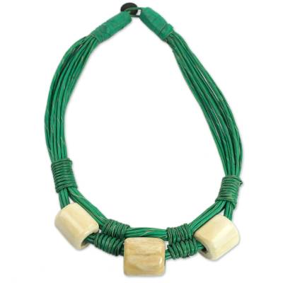 Leather and bone torsade necklace, 'Yembo Green' - Leather Artisan Crafted Green Necklace with Bone Squares