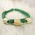 Leather and bone torsade necklace, 'Yembo Green' - Leather Artisan Crafted Green Necklace with Bone Squares (image 2b) thumbail