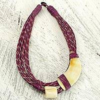 Leather and horn torsade necklace, 'Sougri Violet' - Natural Horn and Bone Leather Hand Crafted Violet Necklace
