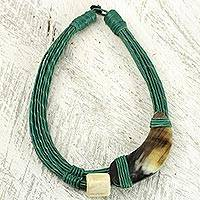 Leather and horn torsade necklace, 'Sougri Green' - Horn and Bone Recycled Beads Necklace Fair Trade Jewelry