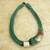 Leather and horn torsade necklace, 'Sougri Green' - Horn and Bone Recycled Beads Necklace Fair Trade Jewelry (image 2b) thumbail