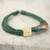 Leather and horn torsade necklace, 'Sougri Green' - Horn and Bone Recycled Beads Necklace Fair Trade Jewelry (image 2c) thumbail