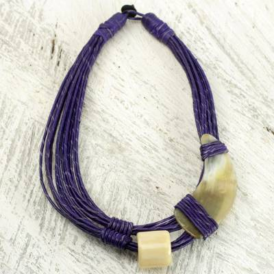 horn and bone purple recycled beads necklace african jewelry