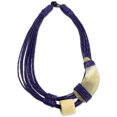 Leather and horn torsade necklace, 'Sougri Purple' - Horn and Bone Purple Recycled Beads Necklace African Jewelry