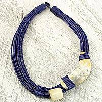 Leather and horn torsade necklace, 'Sougri Blue' - Horn and Bone Blue Recycled Beads Necklace African Jewelry