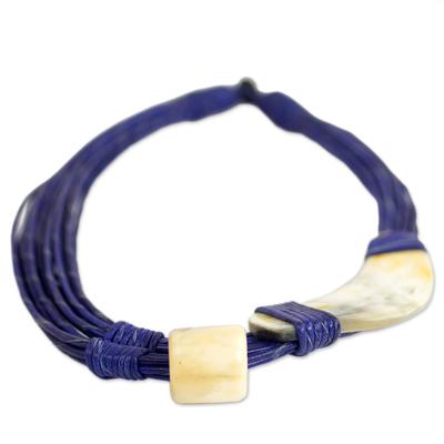 NOVICA Bone Leather Pendant Necklace 19.25 Sougri Orange