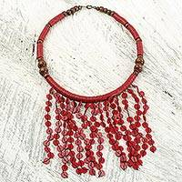 Beaded waterfall necklace, 'Crimson Taowre' - Artisan Crafted Necklace with Red Recycled Plastic and Wood