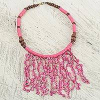 Beaded waterfall necklace, 'Pink Taowre' - Pink Recycled Plastic and Wood Hand Crafted Necklace