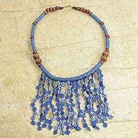 Recycled plastic beaded waterfall necklace, 'Blue Taowre' - Recycled Plastic Beaded Waterfall Necklace in Blue