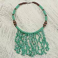 Beaded waterfall necklace, 'Green Taowre' - Green Recycled Plastic and Wood Artisan Crafted Necklace