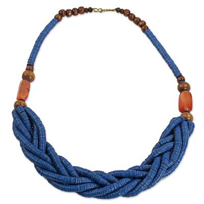Braided bead necklace, 'Sosongo in Blue' - Blue Braided Beaded Necklace Fair Trade Jewelry from Africa
