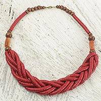 Braided bead necklace, 'Sosongo in Red' - Handcrafted Red Braided Bead Necklace with Wood and Agate