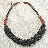 Braided bead necklace, 'Sosongo in Black' - Handcrafted Black Braided Bead Necklace with Wood and Agate