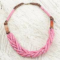 Braided bead necklace, 'Sosongo in Pink' - Handcrafted Pink Braided Bead Necklace with Wood and Agate