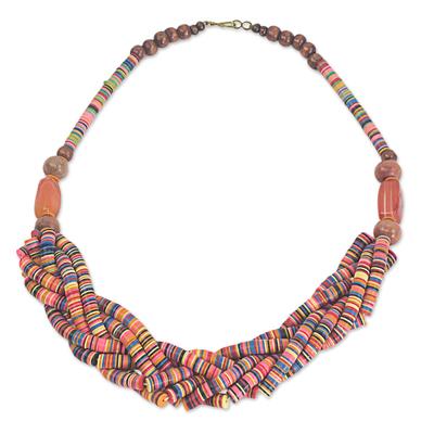 Braided bead necklace, 'Multicolor Sosongo' - Artisan Multicolor Braided Bead Necklace with Wood and Agate