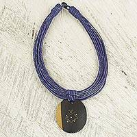 Ebony wood pendant necklace, 'Zacksongo in Blue'