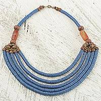 Beaded necklace, 'Wend Panga in Blue'