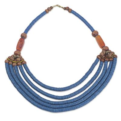 Beaded necklace, 'Wend Panga in Blue' - Artisan Blue Bead Necklace with Sese Wood Agate and Leather
