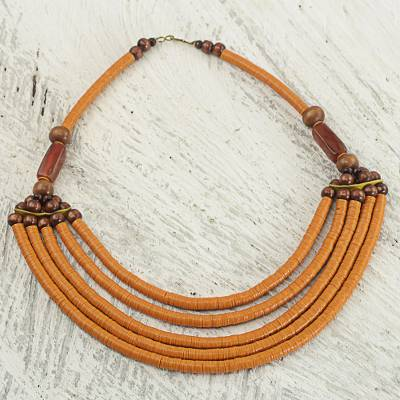 Beaded necklace, 'Wend Panga in Orange' - Artisan Made Agate and Wood African Orange Beaded Necklace