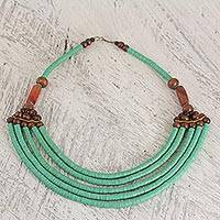 Beaded necklace, 'Wend Panga in Green' - Hand Crafted Agate and Wood African Green Beaded Necklace