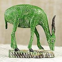 Wood statuette, 'Bright Green Antelope' - Bright Green Wooden Antelope Statuette with Brown Horns