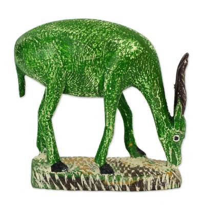 Wood statuette, 'Bright Green Antelope' - Bright Green Wooden Antelope Statuette with Brown Horns