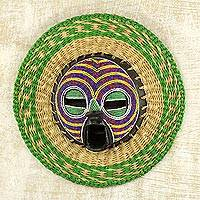 African beaded wood and raffia mask, 'True Child' - Hand Made African Mask with Wood, Bead and Raffia Accents