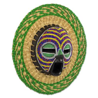 Hand Made African Mask With Wood Bead And Raffia Accents True Child Novica