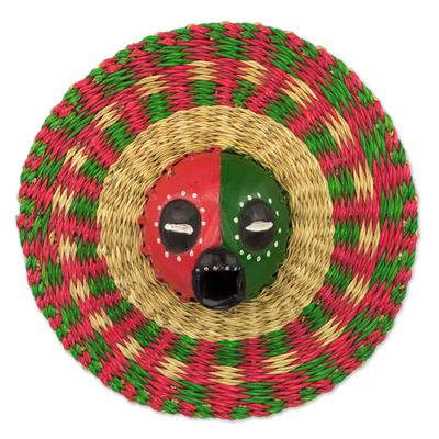 African wood and raffia mask, 'Ijeoma' - Hand Made African Mask with Wood and Raffia Accents