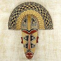 African wood and raffia mask, 'Prosper' - Hand Made African Mask with Wood and Raffia Accents