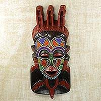African beaded wood mask, 'Mashgash' - Hand Carved and Hand Painted Igbo African Wood Mask