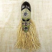 African wood mask, 'Bearded Osumboa Hene' - Hand Carved and Painted African Wood Mask with Raffia