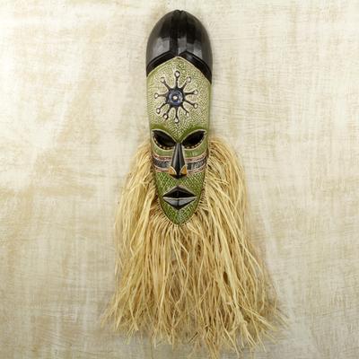 African wood mask, 'Bearded Osumboa Hene' - Hand Carved and Painted African Wood Mask with Raffia
