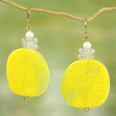 Beaded dangle earrings, 'Yellow Nunana' - Recycled Glass and Plastic Yellow Dangle Earrings from Ghana