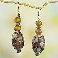 Recycled plastic and wood dangle earrings, 'Elikem in Brown' - Recycled Plastic Wood Dangle Earrings Brown from Ghana