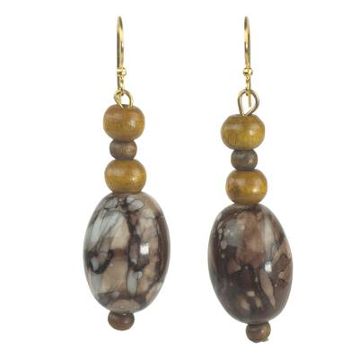 Recycled plastic and wood dangle earrings,