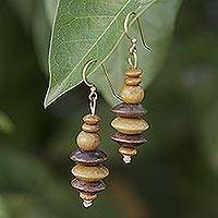 Wood dangle earrings, 'Norvi Pair' - Wood and Clay Dangle Earrings Brass Hooks from Ghana