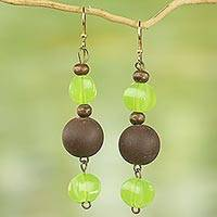 Recycled plastic and wood dangle earrings, 'Glorious Kafukafu' - Recycled Plastic Wood Dangle Earrings Brown Green Ghana