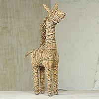 Rattan giraffe, 'Regal Giraffe' - Rattan Decorative Giraffe Hand Crafted in Ghana